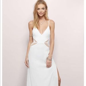 White maxi dress with mesh detail